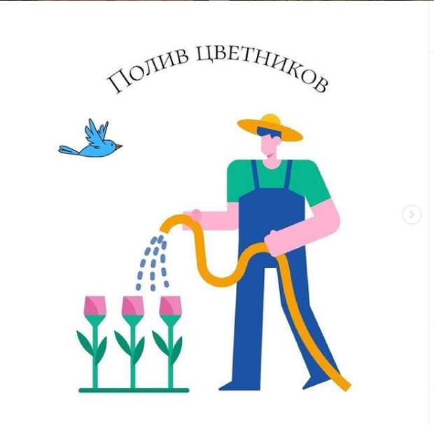 В Алексеевском из-за жары организовали полив цветников и газонов