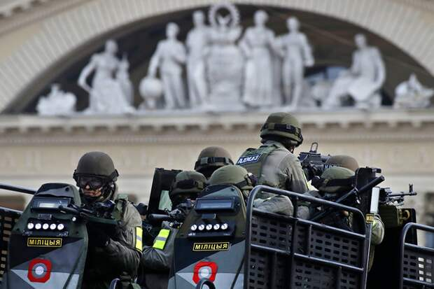 Belarus Interior Ministry special forces attend a parade marking the 100th anniversary of the Belarusian Police in Minsk, Belarus, Saturday, March 4, 2017. (AP Photo/Sergei Grits,Pool)