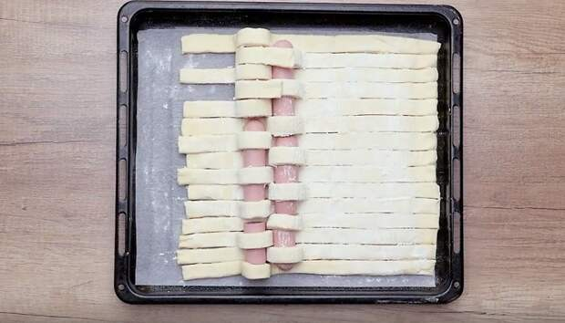пирог с сосисками в слоеном тесте