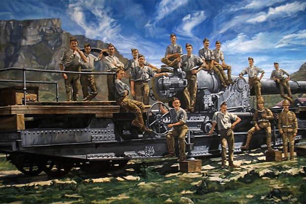 Британские артиллеристы позируют у железнодорожной платформы с укрепленным на ней тяжелым морским орудием на фоне Столовой горы. Кейптаун. Англо-бурская война в Южной Африке, 1899-1902 годы