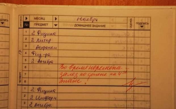 Записи в школьных дневниках (10 фото)