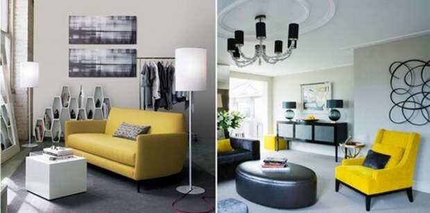 желтая мягкая мебель в интерьере