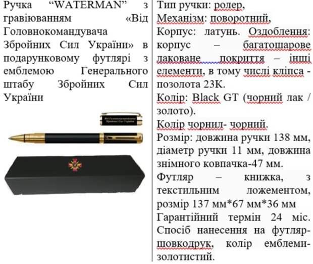 Генштаб ВСУ вооружился золотыми ручками Parker