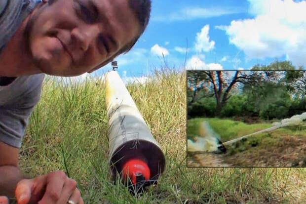Делаем ракету из огнетушителя и проверяем как далеко и высоко полетит