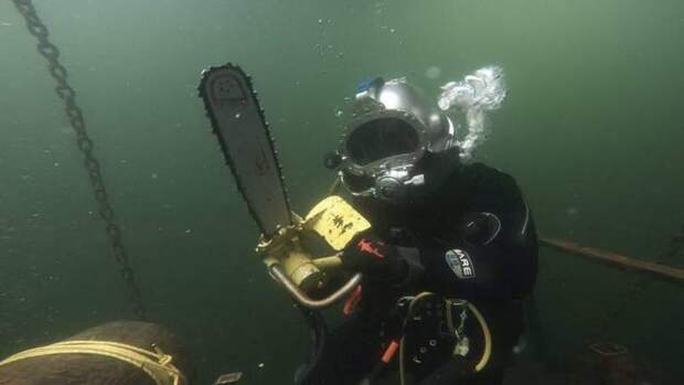 Под водой с электропилой