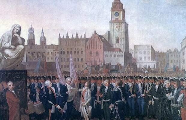 Тадеуш Костюшко произносит клятву в Кракове.