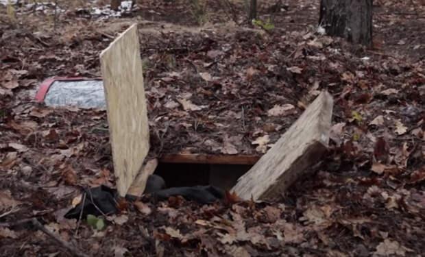 Мужчина ушел в лес и выкопал землянку. Снаружи неприметно, но внутри есть даже баня: видео