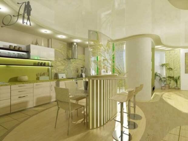 Проект кухни с барной стойкой от компании «Архитектура и Дизайн»