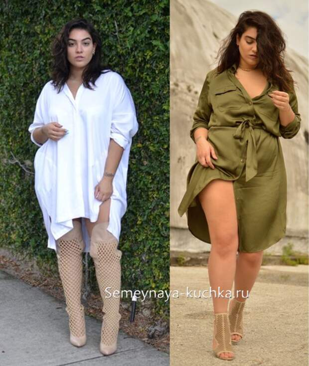 платья для полных женщин крой рубашка