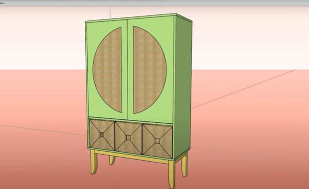 Создаем шкаф своими руками из фанеры и ротангового полотна