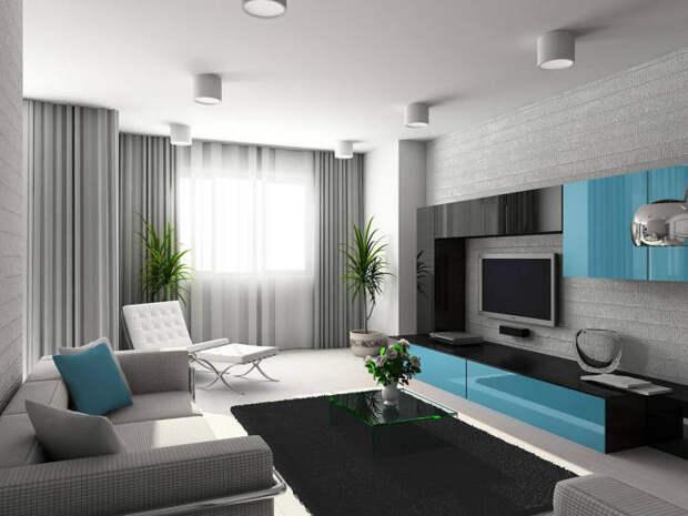 Нескучный интерьер гостиной комнаты в современном стиле, которая выглядит традиционно и уютно.