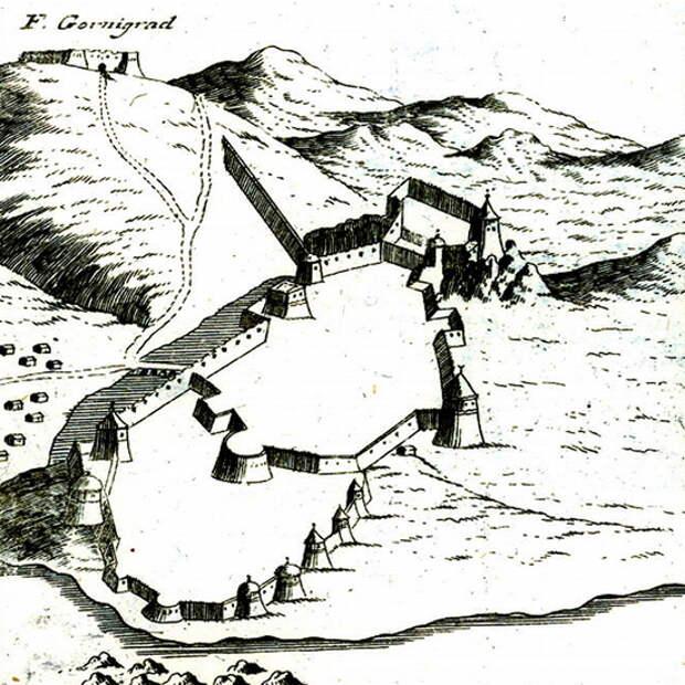 Кастельнуово, перестроенный османами, на рисунке Коронелли 1680-х годов. Направление на север — примерно влево и вверх - Война Священной лиги в 1539 году: тучи над Кастельнуово | Warspot.ru