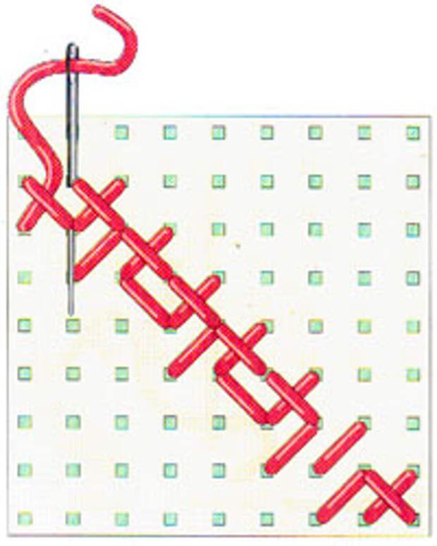 Вышивка крестиком по диагонали. Двойная диагональ справа налево (фото 12)