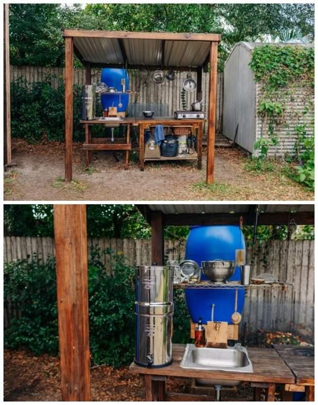 Кухня и все необходимое оборудование для приготовления пищи расположено под навесом во дворе («Teeny Greeny», США).   Фото: obgreenfield.tv.