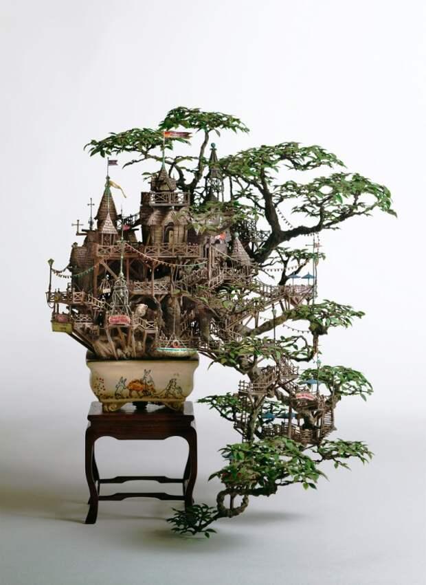 Таканори Айба -  скульптуры на бонсай деревьях