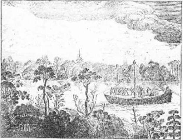 Рисунок Олеария, изображающий движение струга.