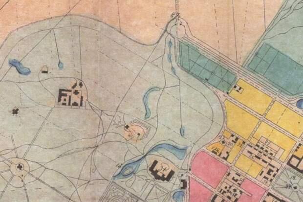 Фрагмент плана императорских садов и парков в Царском Селе, 1858 г.