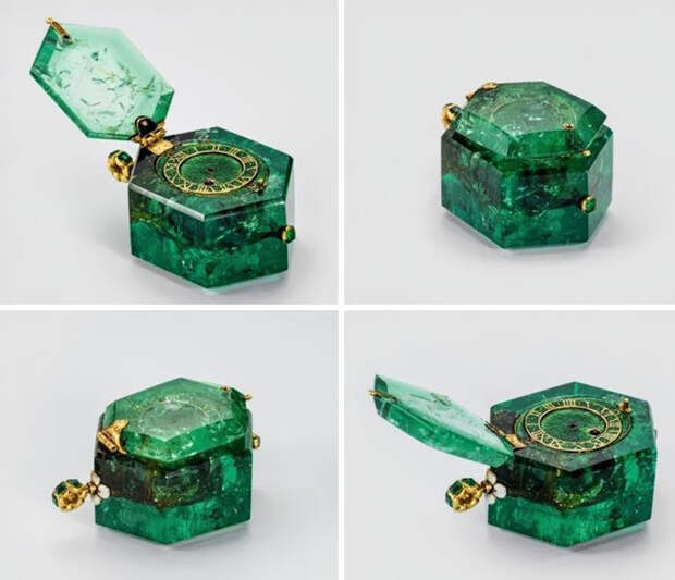 Карманные часы 350-летней давности, вырезанные из цельного колумбийского изумруда.