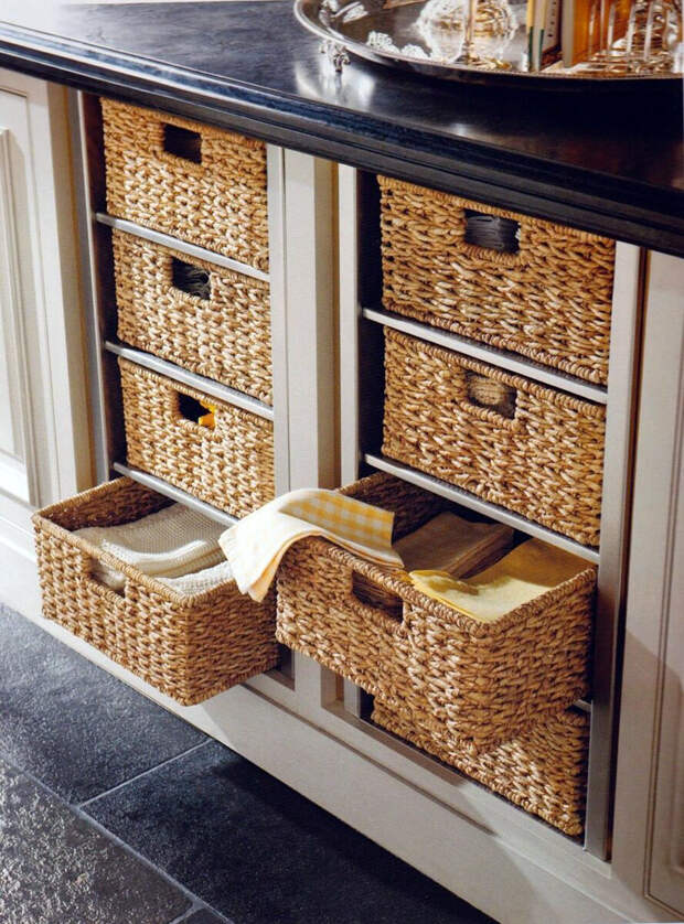 Как использовать плетеные корзины для хранения на кухне