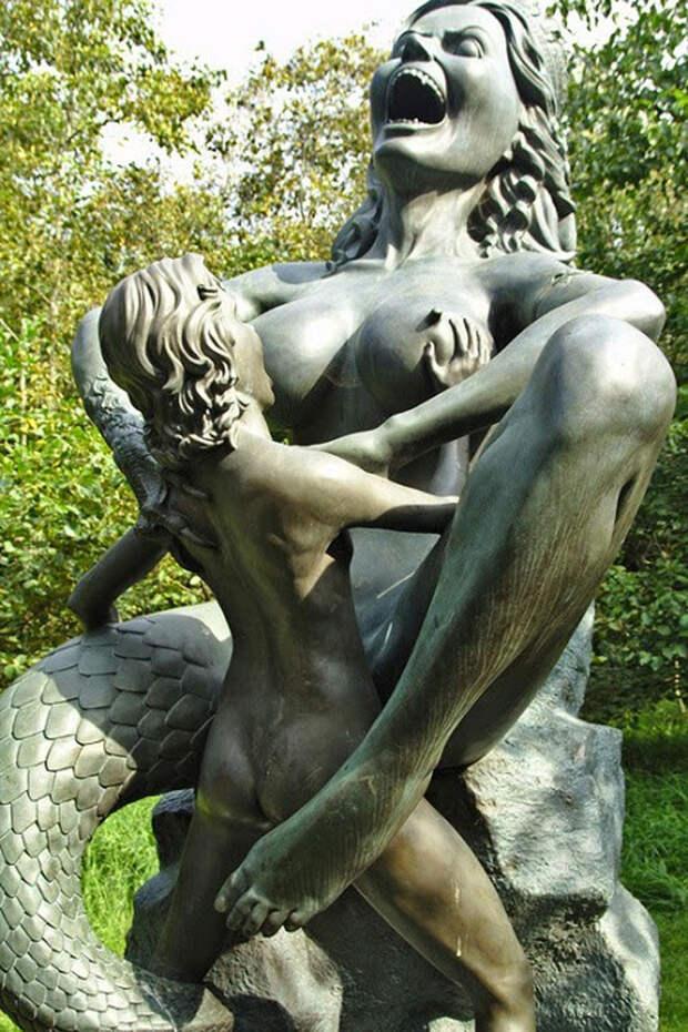 Жуткие скульптуры в парке индийской культуры в Ирландии ирландия, парк, скульптуры