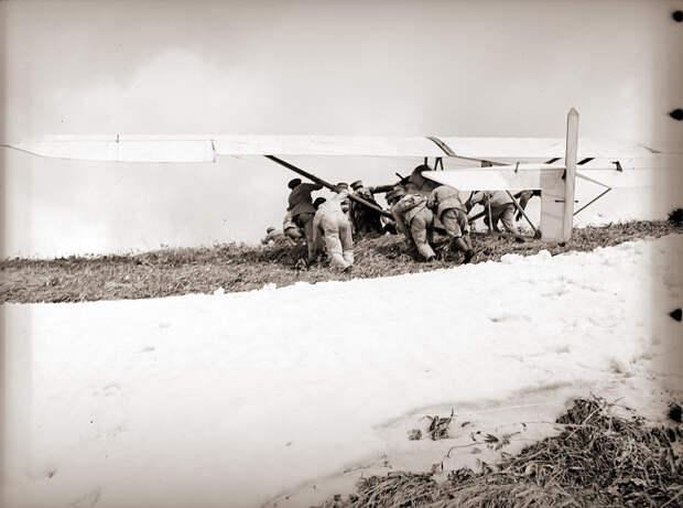 Pushing Glider Off Hillside, 1930s Japan