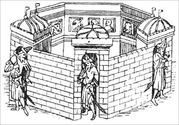 Таким увидел столицу монголской империи Каракорум Марко Поло.Стражники с елманями неотличимы от будущих стрельцов,крыша здания слева,как у русских теремов. история, монголы