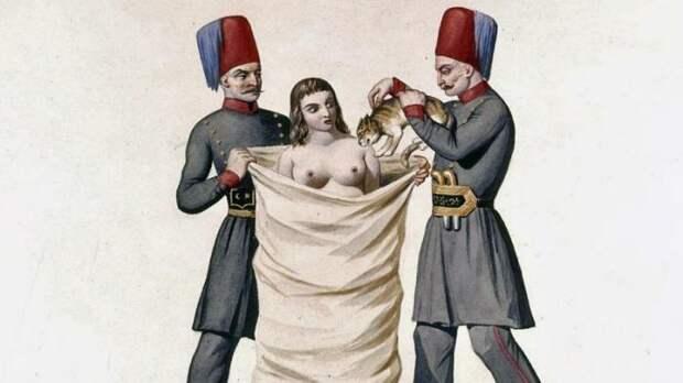В Турции XVIII века женщину, уличённую в прелюбодеянии приговаривали к казни весьма необычным способом: её зашивали в мешок с кошками и топили исторические факты, история, факты, человечество