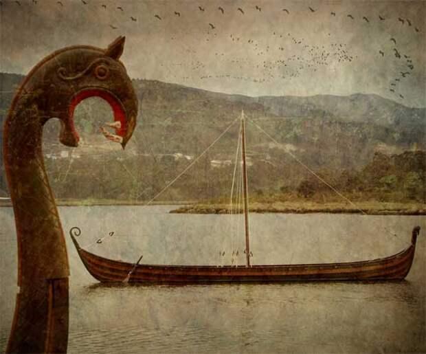 два корабля викингов