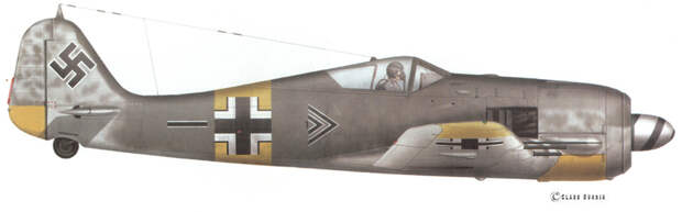 Fw 190A-6 W.Nr. 550 528, самолёт-ветеран с непростой судьбой. Сначала он попал в Stab I./JG 54, на нём летал командир группы гауптман Хорст Адемайт (Horst Ademeit), ас с 166 победами. После планового ремонта летом 1944 года самолёт попал в Stab II./JG 54 — и на нём стал летать командир группы майор Рудорффер. Самолёт был потерян 15 декабря 1944 года, когда вылетевший на нём молодой пилот унтер-офицер Вальтер Леве (Uffz. Walter Lewe) был сбит в бою с «Аэрокобрами» и погиб. Художник — Клаес Сундин - Рекорды Эриха Рудорффера: от Туниса до Прибалтики | Военно-исторический портал Warspot.ru
