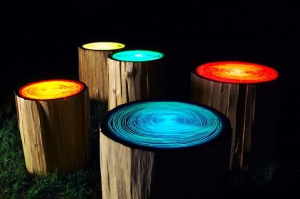 Освещение сада с помощью люминесцентной краски