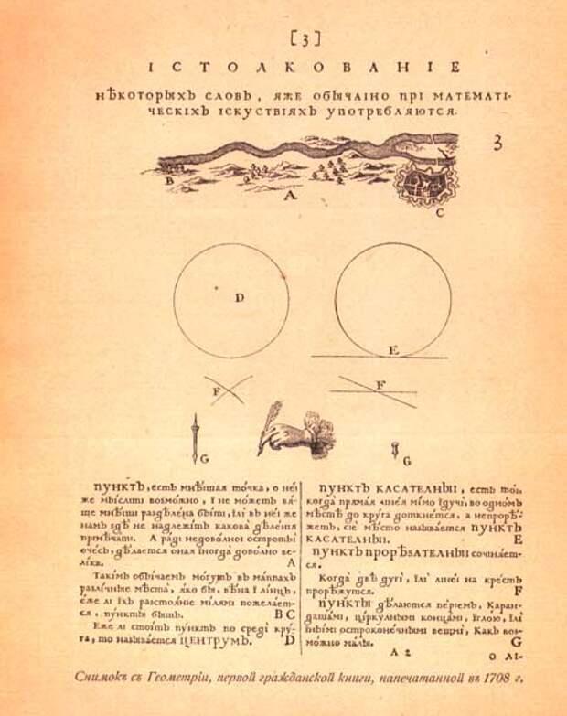 «Геометрия славенски землемерие…» — первая русская книга гражданского шрифта. 1708