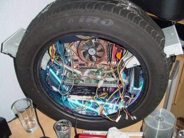 Компьютер в автомобильном колесе