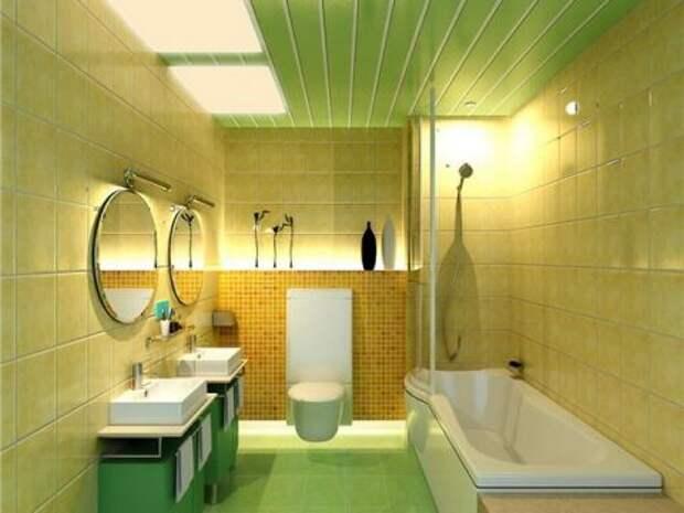 Отделка стен в ванной кафелем.