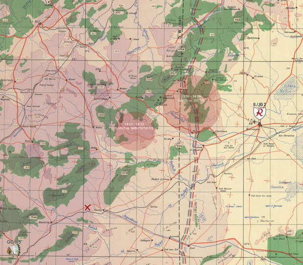 Эмблемами обозначены аэродромы базирования авиагрупп — немецкой II./JG 2 «Рихтгофен» и французской GC II/5 «Лафайетт». Красный крест — место вынужденной посадки сержанта Денэ. Для просмотра карты-схемы в максимальном размере нажмите на неё, затем откройте изображение в новой вкладке и кликните по нему левой клавишей мыши - Рекорды Эриха Рудорффера: от Туниса до Прибалтики | Военно-исторический портал Warspot.ru