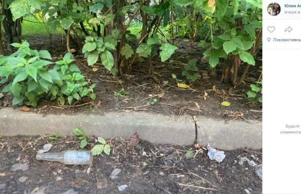 Постояльцы отеля на Дмитровском шоссе выкидывают мусор в палисадник