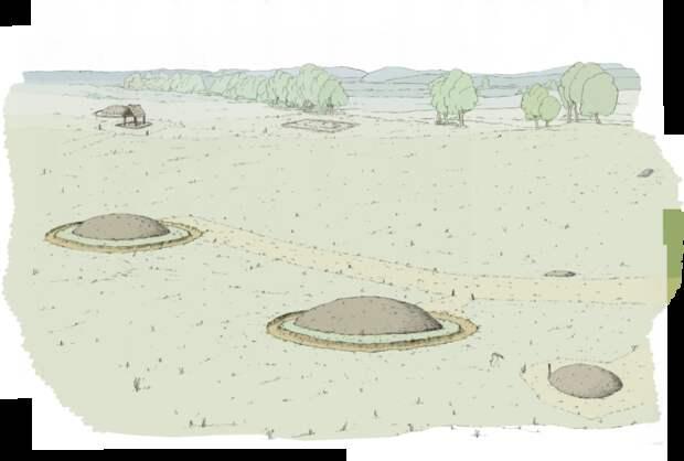 Художественное изображение обнаруженных могил в их первоначальном виде.