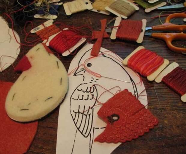 Оригинальные текстильные птички