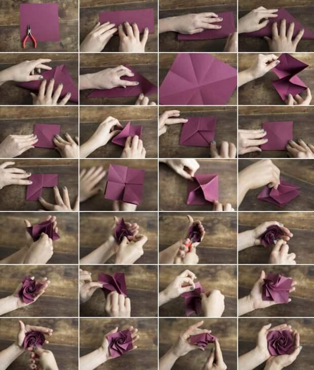 САМОДЕЛКИ. Как свернуть оригами-розу