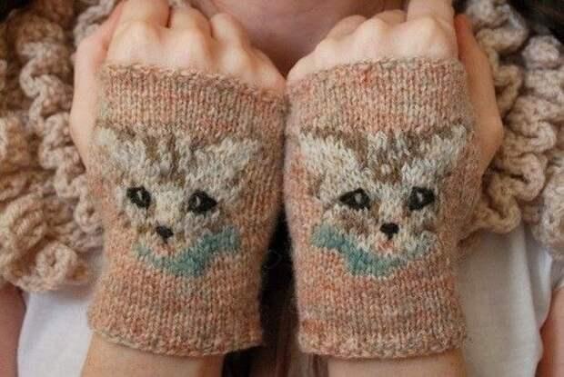 Митенки с котиками