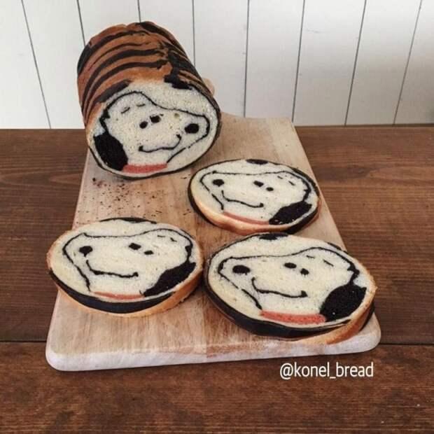 Хлеб с сюрпризом, внутри которого спрятаны забавные рисунки