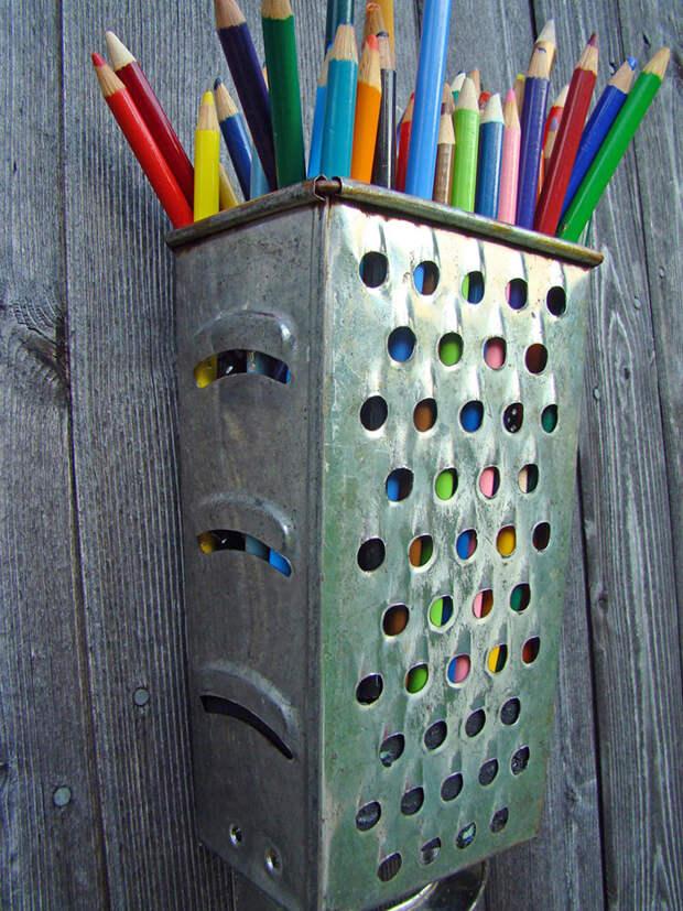 11. Терка - подставка для карандашей винтаж, посуда, совет, хитрости