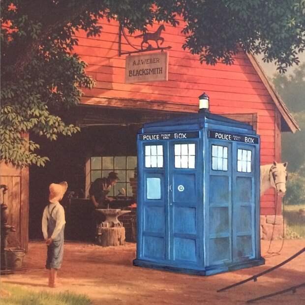 Художник добавил известных персонажей кино в старые картины