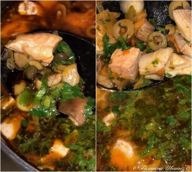 Селяна рыбная сборная. По мотивам рецепта Молоховец Молоховец, еда, селянка Молоховец, селянка рыбная, солянка рыбная