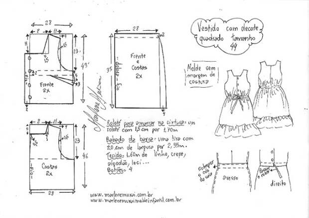Выкройка летнего платья с квадратным вырезом