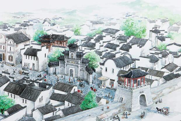 Художественная реконструкция древнего города Шичен.
