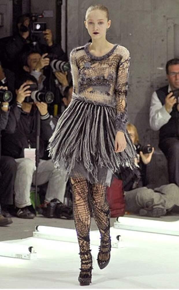 Платье (вяжем из остатков)