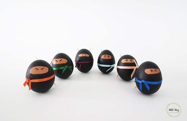 Как порадовать детей на Пасху Сделать яйца-ниндзя