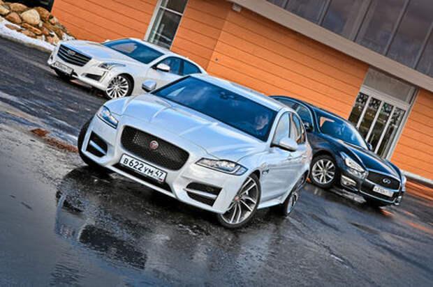 Схватка бизнес-седанов: новый Jaguar XF против Infiniti Q70 и Cadillac CTS