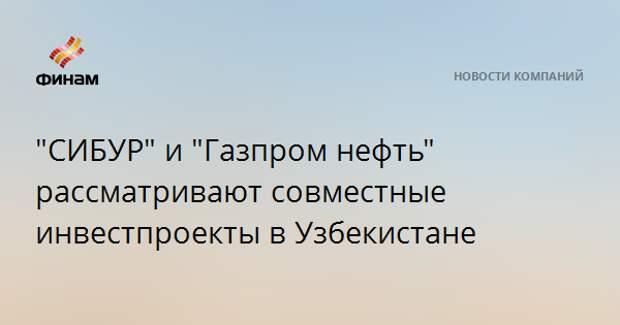 """""""СИБУР"""" и """"Газпром нефть"""" рассматривают совместные инвестпроекты в Узбекистане"""