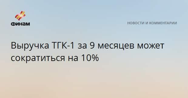 Выручка ТГК-1 за 9 месяцев может сократиться на 10%